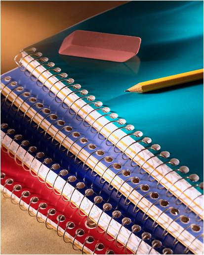 school supplies notebook pencil eraser