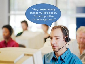 call center employee asks colleagues to change baby's diaper