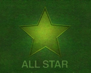 All Star on green background