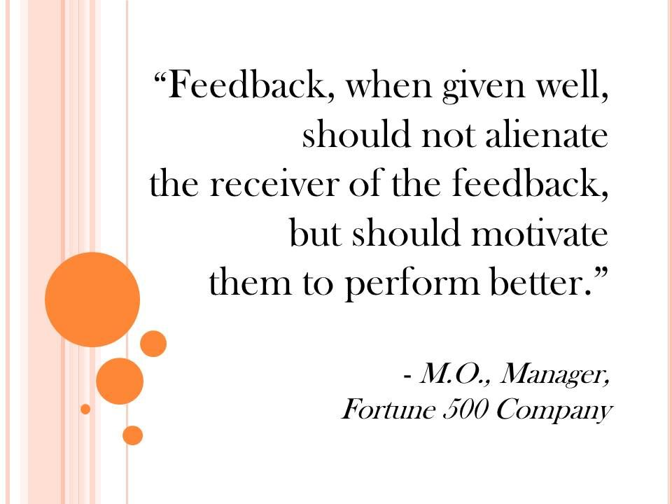 methods of giving feedback on performance of individuals and team A guide for goal setting and employee feedback 2 progress is supposed to help an individual/ team importance of giving continual performance feedback to.