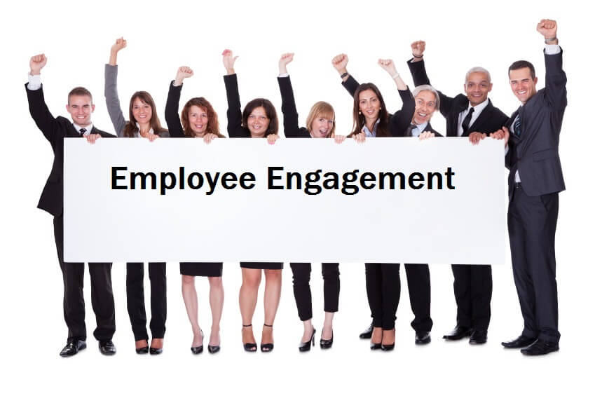 happy workers sign employee engagement